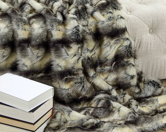 Luxurious Arctic Fox Faux Fur Throw Blanket  - Black and Ivory Patch Rabbit - Silky Soft Minky Cuddle Fur Back - Fur Accents Designs USA