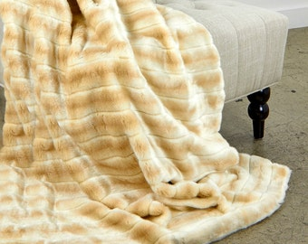 Luxurious Striped Mink Faux Fur Throw Blanket  - Blinde Striped Chanel Mink - Silky Soft Minky Cuddle Fur Back - Fur Accents Designs USA