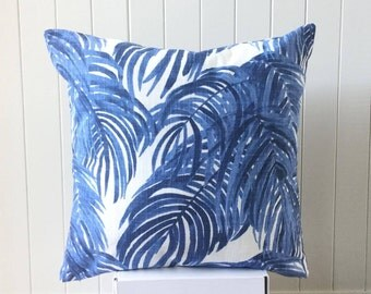 "SALE Blue & white Swaying Tropical Palm Leaf 45 cm - 18"" Cushion / Pillow / Throw Pillow Cover Beach House Coastal Hampton"