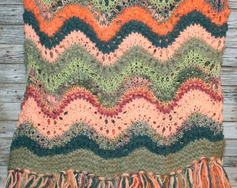 Handmade Hand Knit Blanket Afghan Throw Fringe Peach Green Orange Hippie Bohemian Home Decor
