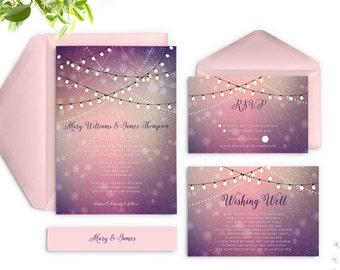 Twinkle Lights Wedding Invitations, Outdoor Wedding Invitation, Purple Wedding Invitations, Printed Wedding Invitations