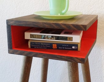Nightstand, Side Table, Wood Legs, End Table, Retro, Sofa Table, Corner Table, Square, Small, Case Modern
