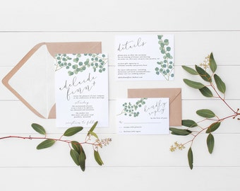 digital printable wedding suite 'eucalyptus' · wedding greenery invitation · eucalyptus plant wedding set · modern calligraphy wedding set