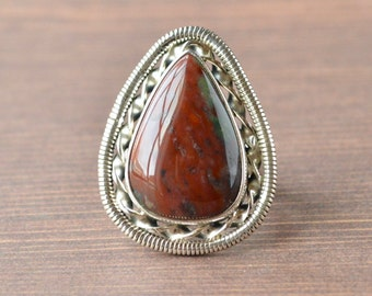 Red Teardrop Bloodstone Ring // Bloodstone Jewelry // Sterling Silver // Village Silversmith