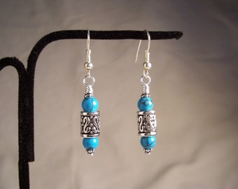 Turquoise and Silver Earrings, Turquoise, Silver, Native American Style, Southwest, Silver Earrings, Round Turquoise, Antiqued Silver