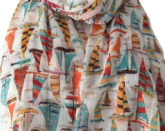 Sail Boat Scarf, White Scarf with an orange Blue Red and yellow sailing boats Print, Ladies Yacht Wrap Yachts Shawl