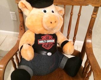 "Vtg Official Harley Davidson Motor Cycles Plush Stuffed Animal HOG/PIG 1993  Jumbo 21"""