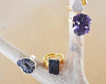 Assorted Rings : Agate Druzy, Amethyst, Black Tourmaline, Geode Slice, Crystal Jewelry