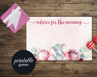 Advice for Mom to be, Elephant Baby Shower Games Girl, Elephant Advice Card, Printable Advice for Mommy, Baby Shower Advice card