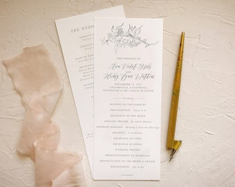 Calligraphy Wedding Programs for Rustic Ceremony Decor