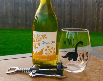 Winosaur Wine Glass // Dinosaur Wine Glass // Dino Wine Glass //Brontosaurus // Wine-o-saur Wine Glass // Dinosaur // Made in USA
