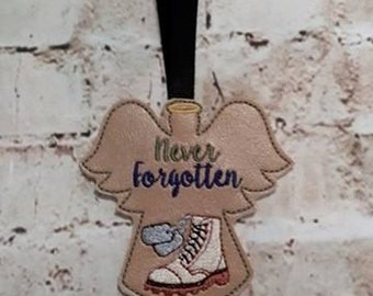 Never Forgotten - Soldier - Military- Combat Boot - Angel - Ornament - DIGITAL EMBROIDERY Design