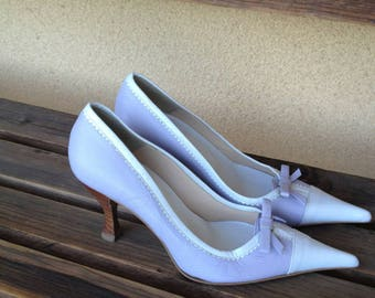 Lavender White Pumps, Lavender White Shoes, Lumiani Shoes, Pointy heels, Pointy Pumps, Kitten heel Pumps, Lavender Pointy Pumps, Italian