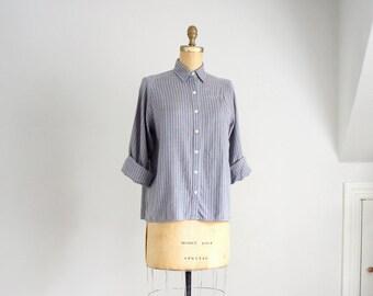 80s John Henry pinstripe cotton oxford shirt