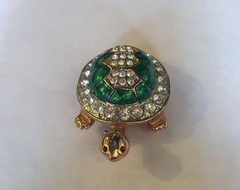 Turtle Brooch Green Enamel and Rhinestone Body Red Rhinestone Eyes