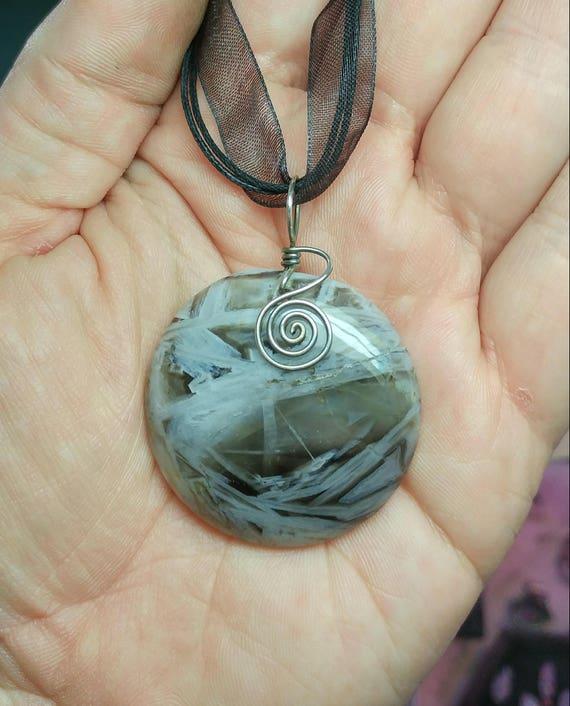 Bamboo Agate Pendant Necklace   Stick Agate Pendant   Antique Sterling Silver Pendant   Semiprecious Gemstone Pendant   Black & White Stone