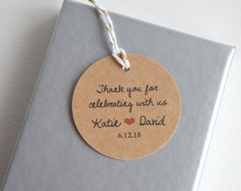 Thank You Kraft Brown Matte Round Label Tags - Custom Wedding Favor & Gift Tags - Choice of Colors - Thank you for celebrating
