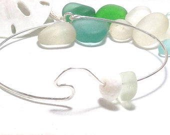 Sea Glass Bracelet Wave Bangle Beach Puka Shell Bracelet