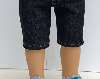 18 Inch Boy Doll Clothes - Black Denim Shorts