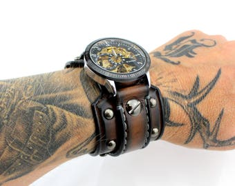 Steampunk Watch with Riveted Aged Brown Leather Cuff, Men's Leather Cuff Watch, Men's Gift, Anniversary Gift, Custom Leather Watch