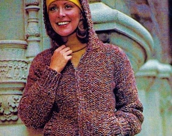 Easy Hooded Jacket Vintage Knitting Pattern Download