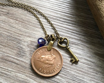 63rd birthday gift, 1954 farthing necklace, wren coin, bird charm pendant, keepsake gift for her, woman, mum, grandma, antique style Jewelry