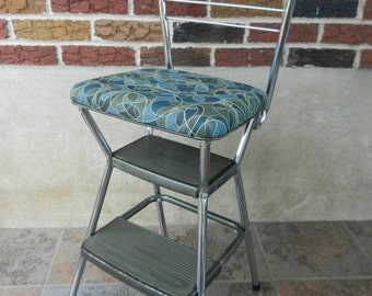 Vintage Cosco Step Stool and Chair, New Padding and Vinyl, Flip Seat, Kitchen Stool, Abstract Olive and Teal Vinyl, Booster Seat