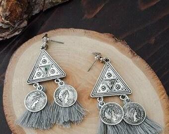 Aztec Silver Earrings, Boho Chic, Gray Tassel Earrings, Festival Jewelry, Hippie Etsy Gift
