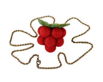 Raspberry pendant - sweet sixteen jewelry - red fruit necklace - sweet 16 pendant in kawaii style - Lolita necklace with raspberry [N40]