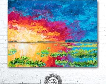 Colorful Wall Art, Coastal Landscape Painting, Colorful Landscape Painting, Coastal Decor, Sunset Painting, Home Decor, Sunrise Painting