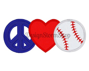 Baseball Applique Design/Peace Love Baseball/Machine Embroidery/Softball Design/Instant Digital File Download/Sports/5x7