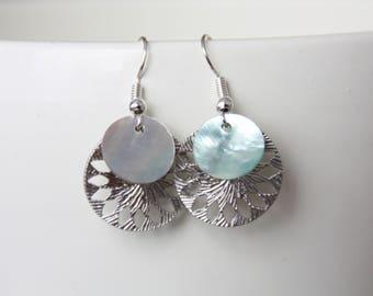 Silberne Ohrringe mit natürlichem Perlmutt, earrings