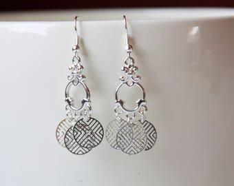 Silver earrings, earrings, filigree