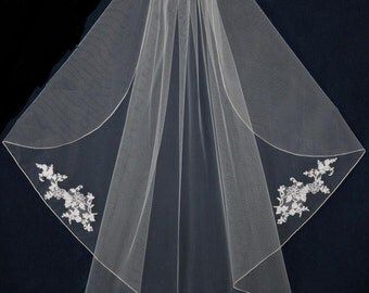 Alencon Lace Flutter Cut Fingertip Length Wedding Veil