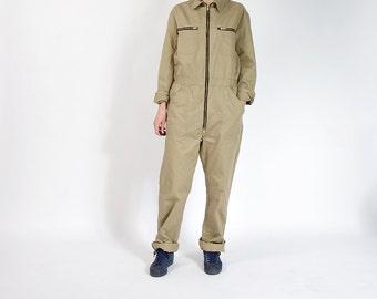 30% OFF SALE - 90s Neutral Beige Cotton Workwear Unisex Street Style Jumpsuit Coveralls / Men M/L Women L/XL