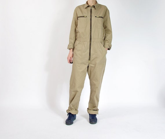 SALE 40% OFF - 90s Neutral Beige Cotton Workwear Unisex Street Style Jumpsuit Coveralls / Men M/L Women L/XL