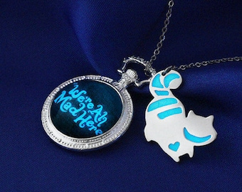 Glow in the Dark We're All Mad Here Necklace, Ceshire Necklace, Alice in Wonderland, Glow in the Dark Necklace, Geekery, Mad Hatter, TeaPot