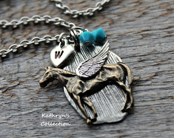 Horse Angel Necklace, Horse Sympathy Gift, Loss of Horse, Pet Horse, Horse Lover, Equestrian Jewelry, Horse Memorial