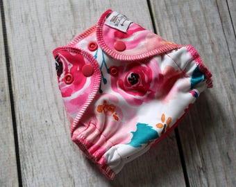 Newborn Floral Cloth Diaper - Newborn Diaper - Watercolor Floral Diaper - All in Two - AI2 Cloth Diaper - Newborn AI2 - Newborn Diaper Cover