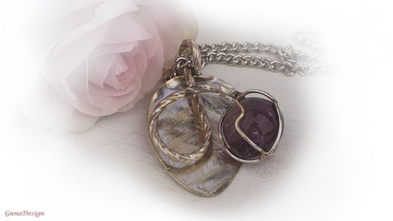 Vintage Spoon Pendant with Purple Glass Bead