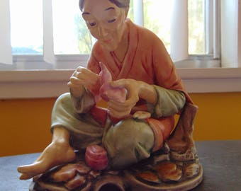 Vintage Ceramic Asian Woman Figurine 1981