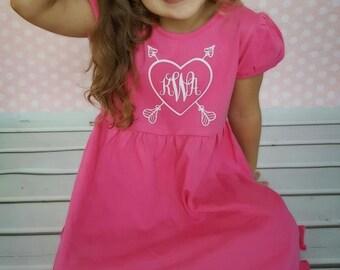 Monogram Valentine's Day Shirt Iron On, Monogram Heart Decal Heat Transfer, Toddler Glitter Valentine's Day Shirt