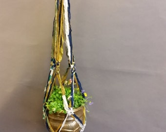 Plant Hanger, Decorative. Made From Re-Purposed Silk Sari Yarn Ribbon. Macrame Knots. Vintage Brass Bowl.