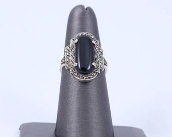 Vintage Ring. Black Onyx Marcasite Ring. Sterling Silver, Art Deco Ring