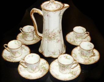 Antique Old Apple Blossom Double Gold Coffee Tea Set Pot and Demitasse Cups Theodore Haviland Limoges France Schleiger 146