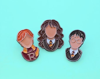 Magic Enamel Pins, Hermione Granger, Ron Weasley, Wizard Pin, Fantasy Pin Flair, Lapel Pin, Pin Badge, Stocking Stuffer