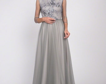 Grey Floor Length Floral Embroidery Bodice Evening Gown,Sheer Long Sleeve Floor Length Tulle Grey Prom Dress w. Rhinestone Embellishment C12