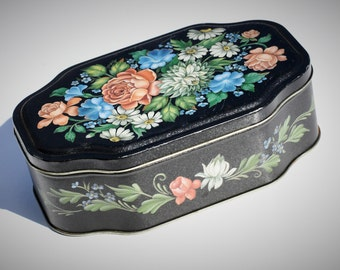 Vintage Tin, Black With Toleware Style Roses, Daisies & Leaves, Floral Storage Box, Sewing, Trinket, Keepsake, Stash, Cash, Signed Tina