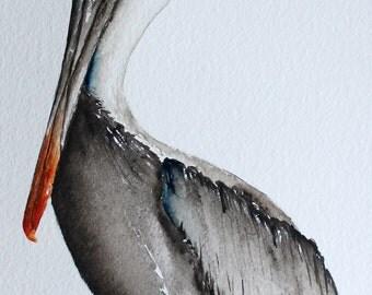 Original watercolor painting bird art Brown Pelican by Betty Moore