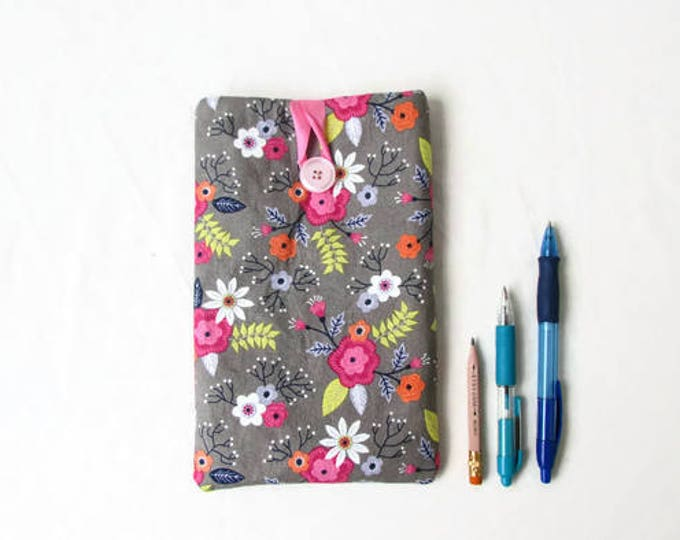 Fabric 7 inch tablet cover, floral kindle case, handmade in the UK